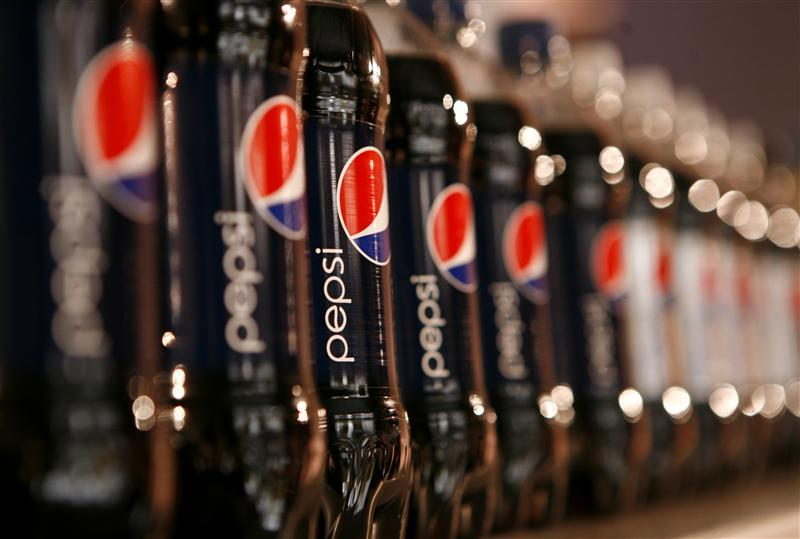 Bottles of Pepsi cola on display at PepsiCo's Investor Meeting event in New York
