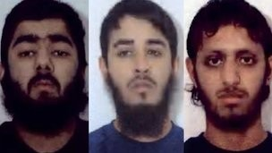 Usman Khan, Mohammed Shahjahan and Nazam Hussain were described as Islamic fundamentalists (Police handout)