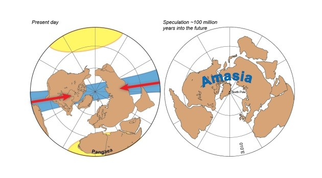 Supercontinents Pangaea and Amasia
