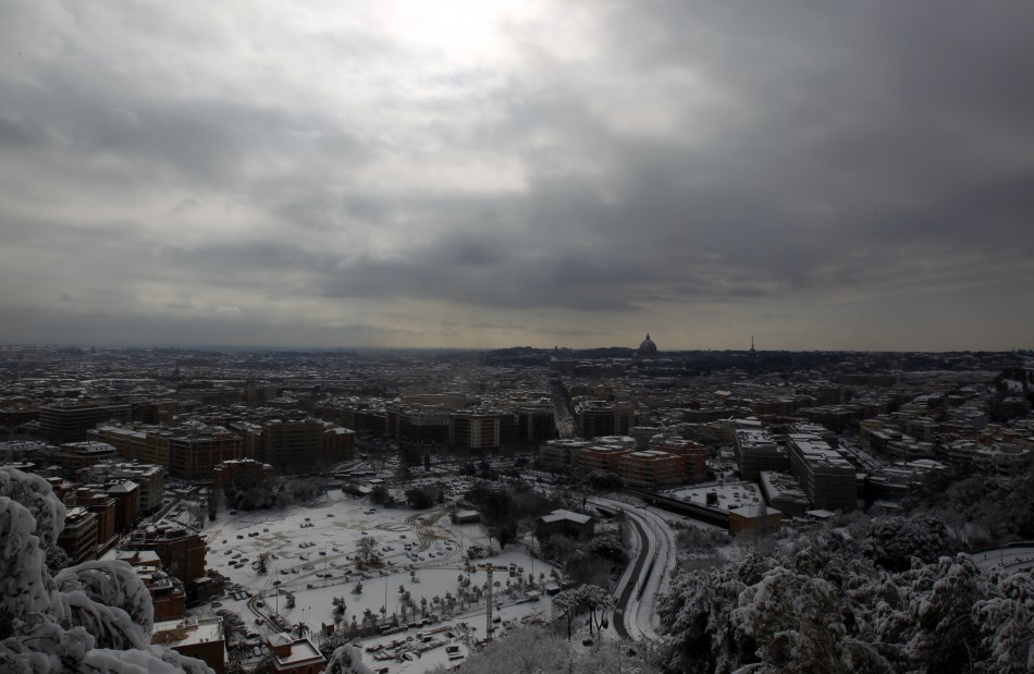 A view of Rome after a snow fall as seen from Monte Mario039s hill