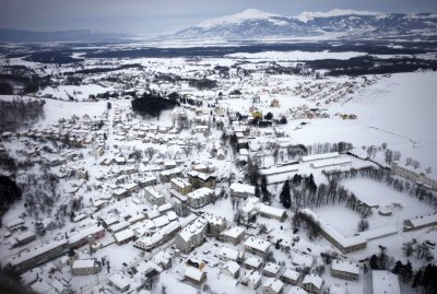 An aerial view of Nevesinje, which has gone without water and electricity for the past five days after power lines and infrastructure were damaged by heavy snowfall in eastern Bosnia