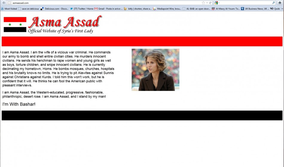 Asma Assad's fake official website