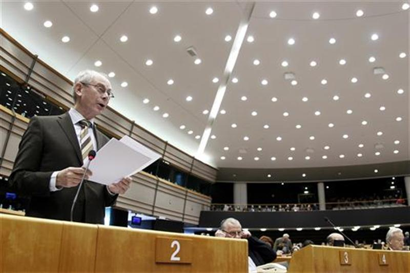 EU Council President Van Rompuy addresses a plenary session of the EU Parliament following an EU head of states summit in Brussels