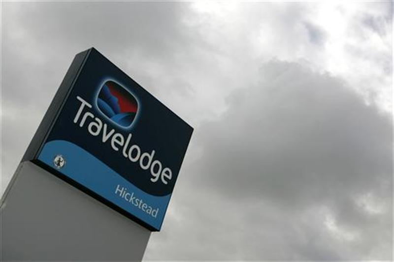 A sign for a Travelodge is seen at Hickstead in Sussex in southern England
