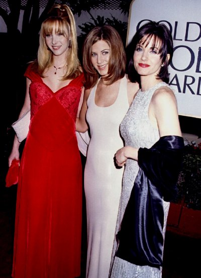 Actresses from the television series quotFriendsquot pose together as they arrive at the 53rd Annual Golden Globes Awards