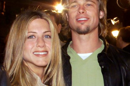 Actress Jennifer Aniston (L) and then boyfriend and actor Brad Pitt