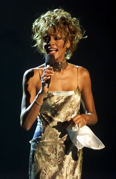 SINGER WHITNEY HOUSTON PERFORMING AT BET AWARDS IN LAS VEGAS.