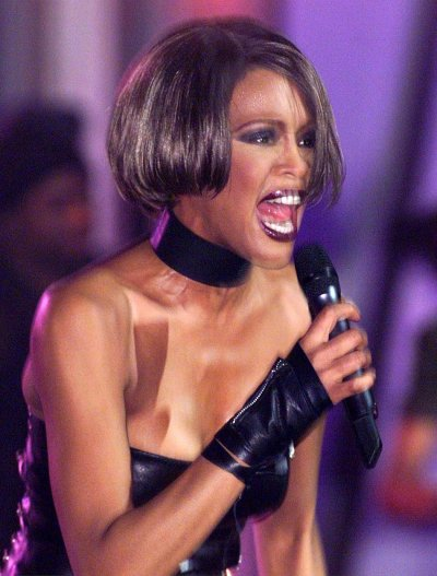 U.S. singer Whitney Houston performs at the annual Brit music awards February 16.