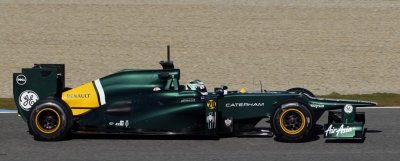 Caterham Formula One driver Kovalainen of Finland drives in Jerez