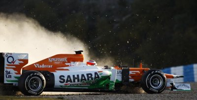 Force India Formula One driver Jules Bianchi of France drives his VJM05 out of the track in Jerez