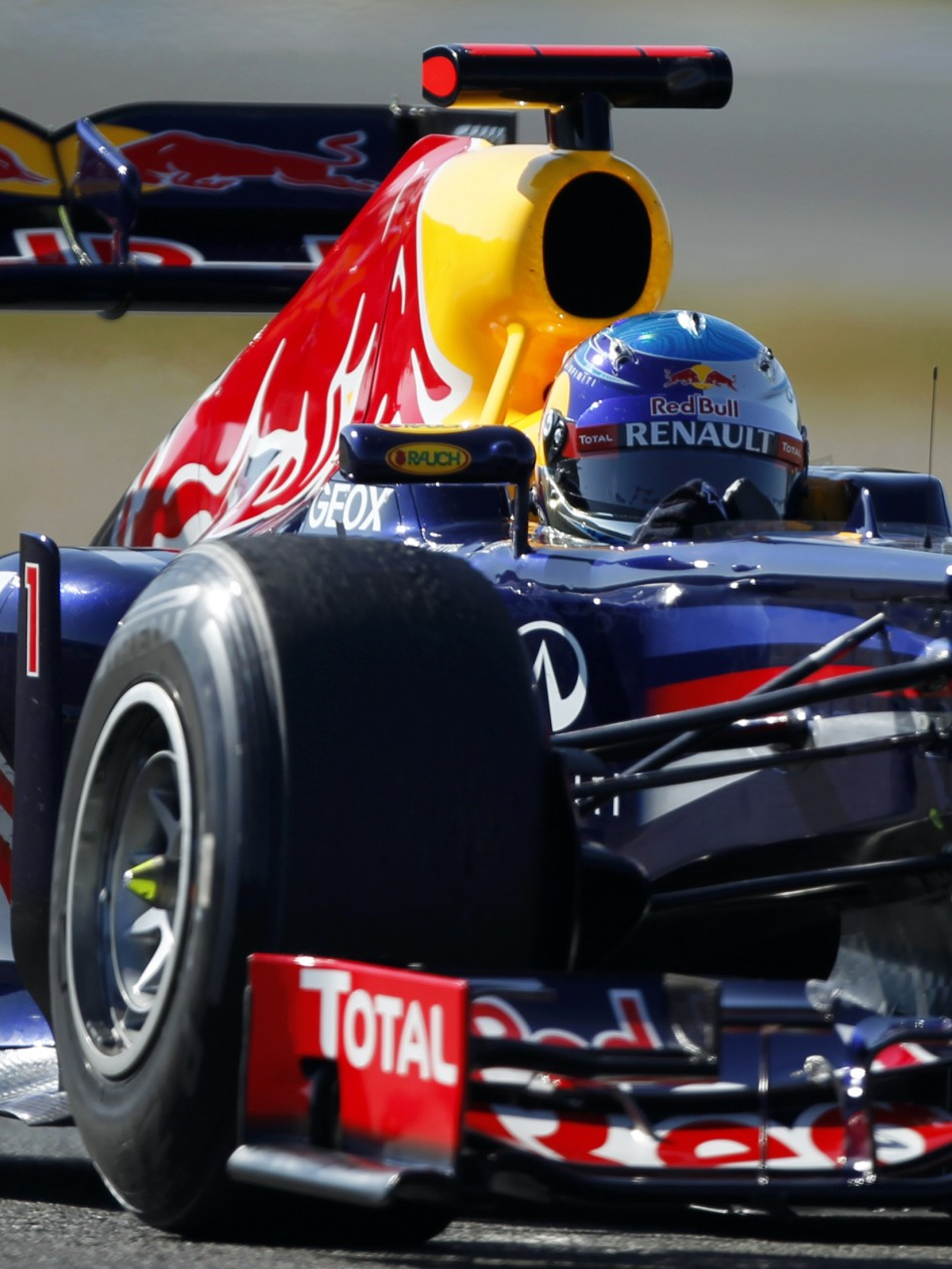 Red Bull Formula One driver Sebastian Vettel of Germany drives the RB8 in Jerez
