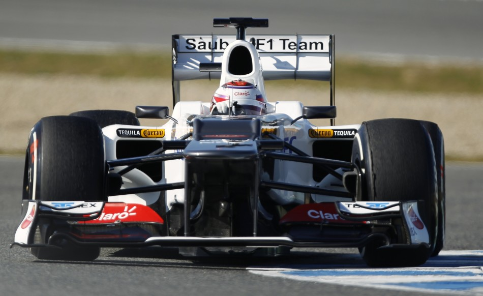 Sauber Formula One driver Kobayashi of Japan drives his C31-Ferrari in Jerez