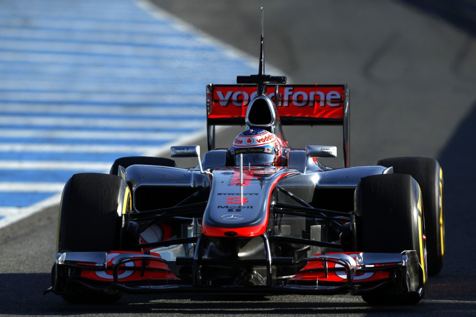McLaren Formula One driver Jenson Button of Britain races during a training session at the Jerez racetrack in southern Spain
