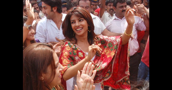Priyanka Chopra during Ganpati Visarjan yatra
