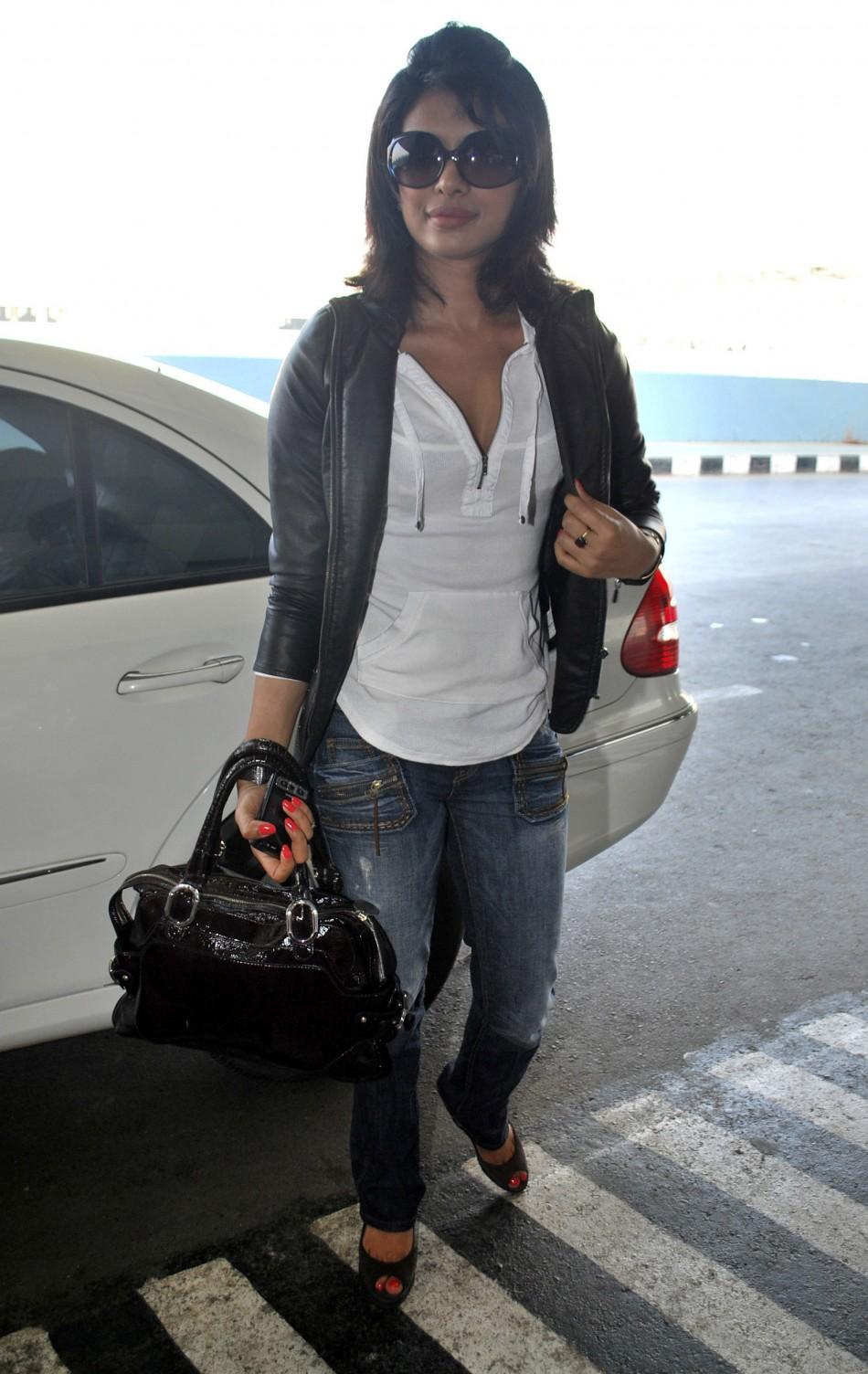 Bollywood actress Priyanka Chopra arrives at the airport in Mumbai