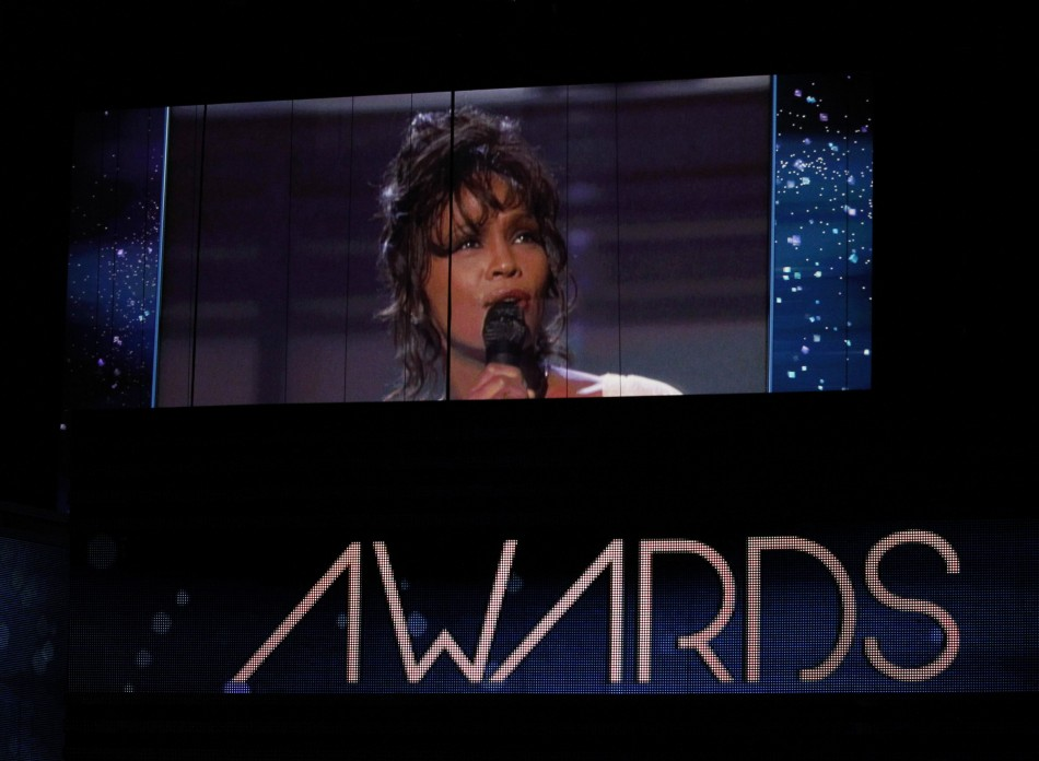 Singer Whitney Houston is shown on a video screen in a 1994 Grammy performance during the 54th annual Grammy Awards in Los Angeles