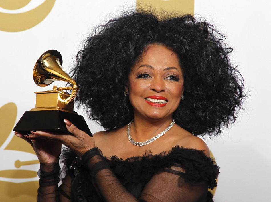 Singer Diana Ross poses backstage at the 54th annual Grammy Awards in Los Angeles, California