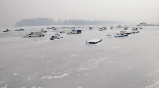 Boats stuck in ice on on Danube river in Belgrade