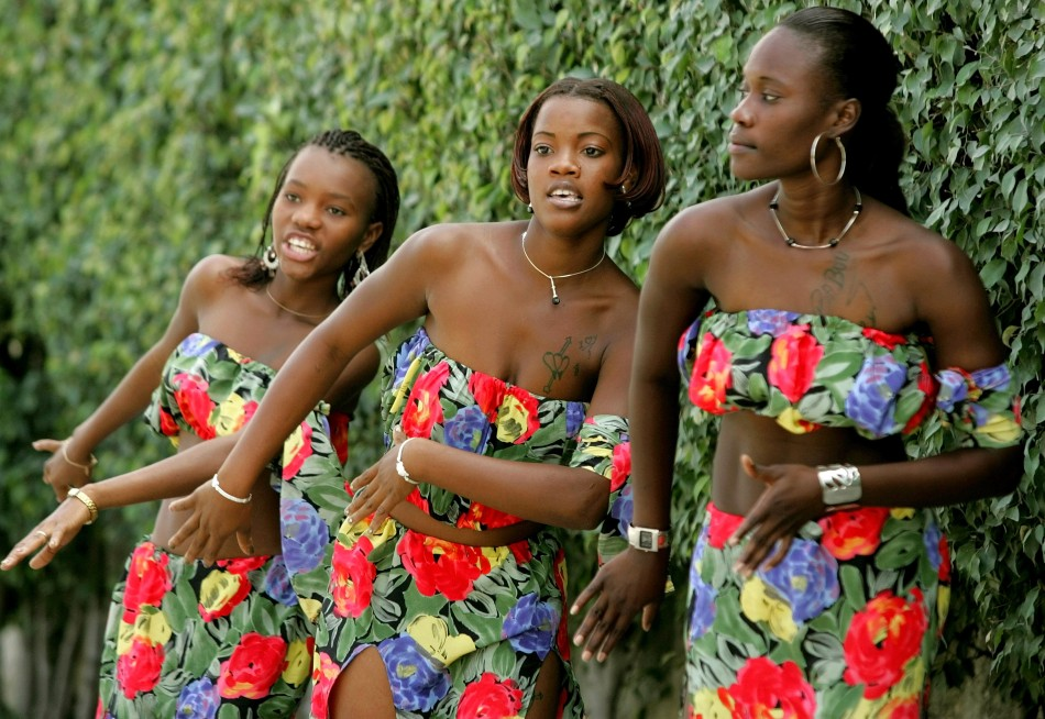 Haitian women sing and dance at carnival