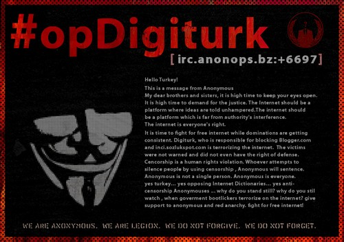 Anonymous' statement announcing Operation Digiturk