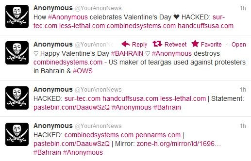 Anonymous Takes Down Web Sites of Bahrain Government and U.S. Maker of Teargas Used on Protesters