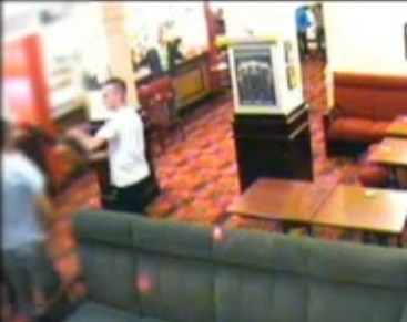 Dean Dinnen pictured on pub's CCTV system