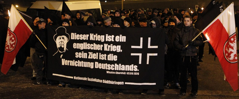 Right wing supporters walk through the city of Dresden February 13, 2012 to stage a funeral march in memory of the victims of the Allied air raid that flattened the city 67 years ago