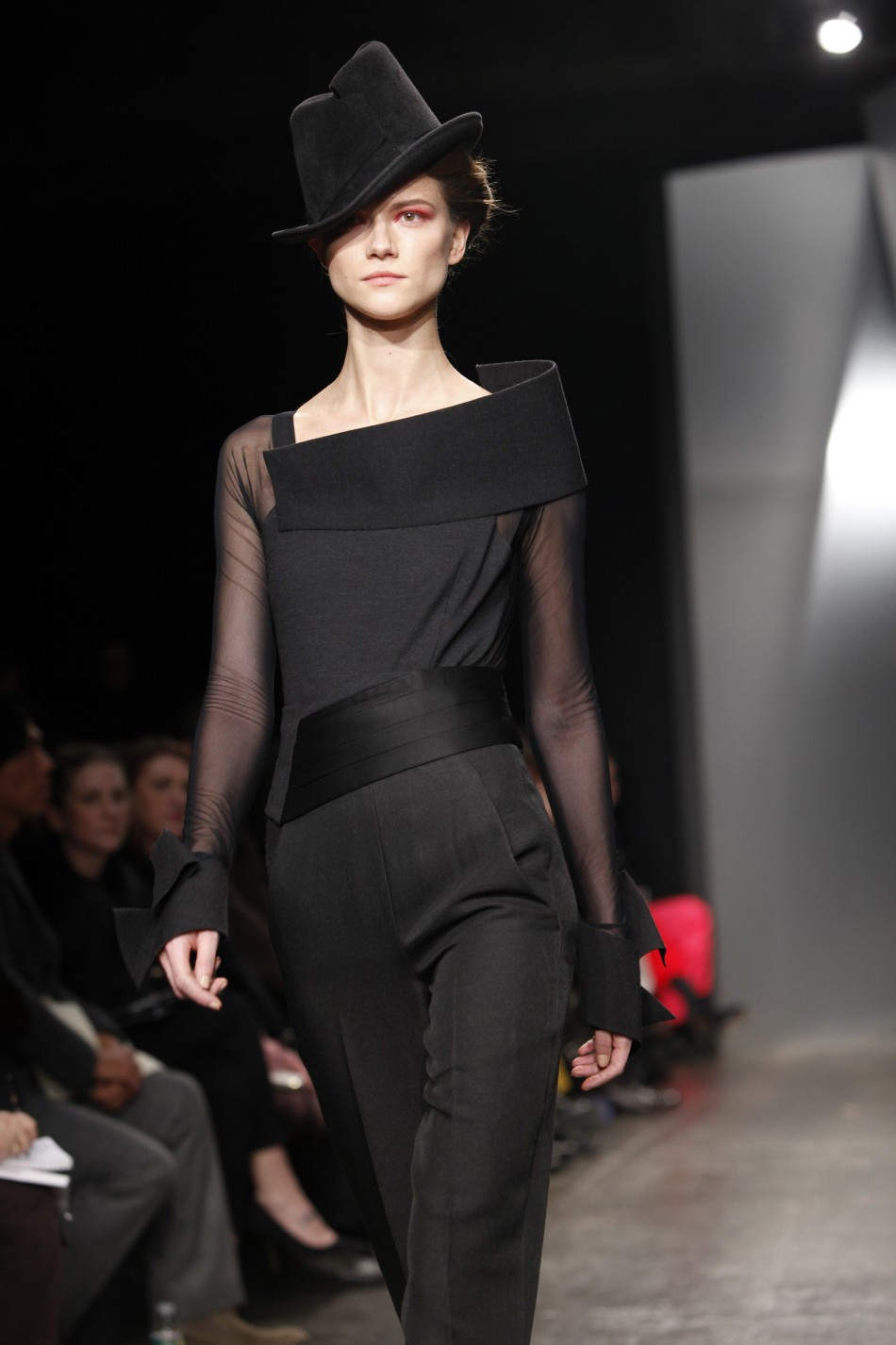 A model presents a creation at the Donna Karen New York FallWinter 2012 collection during New York Fashion Week