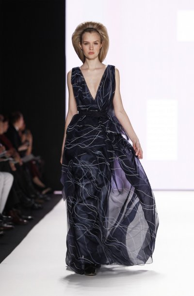 A model presents a creation from the Carolina Herrera FallWinter 2012 collection during New York Fashion Week