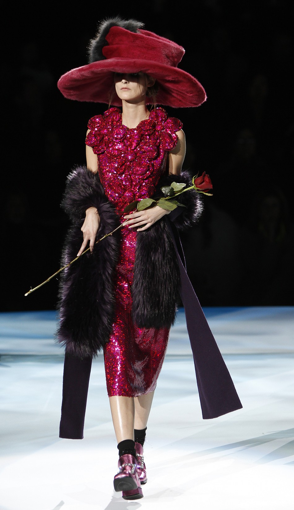 A model presents a creation at the Marc Jacobs FallWinter 2012 collection show during New York Fashion Week