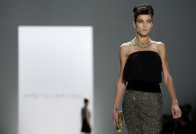 A model presents a creation from the Prete  Bruno FallWinter 2012 collection during New York Fashion Week