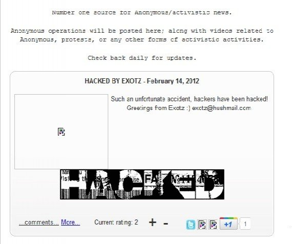 Reports have emerged that AnonyOps, a website associated with the hacktivist Anonymous collective, has been defaced by the hacker Exotz.