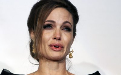 Angelina Jolie cries after the gala premiere