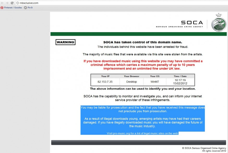 RnBXclusive.com has been closed down by the Serious Organised Crime Agency