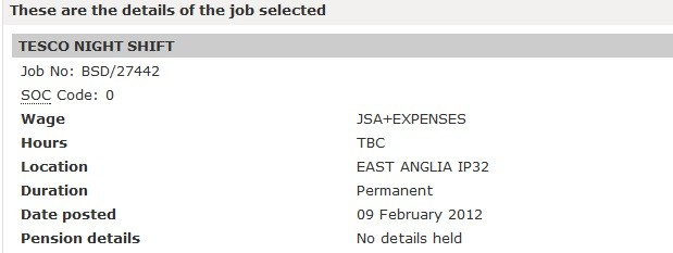 """Jobcentre Plus advertised post for night shift in Tesco, listing wage as """"JSA + expenses"""""""
