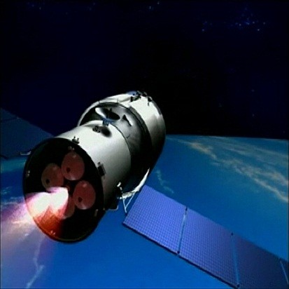 Video grab of 3D animation of China's Tiangong-1 space module (Reuters)