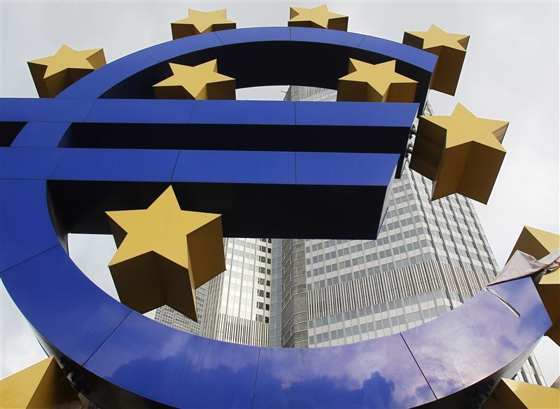 The Euro sculpture is pictured in front of the ECB headquarters in Frankfurt