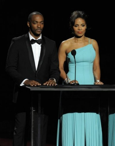 Hosts Anthony Mackie, left, and Sanaa Lathan