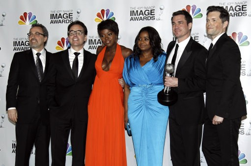 Viola Davis, third from left, Octavia Spencer, fourth from left, director Tate Taylor, fifth from left,