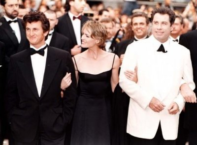 John Travolta right, Sean Penn and Robin Wright Penn