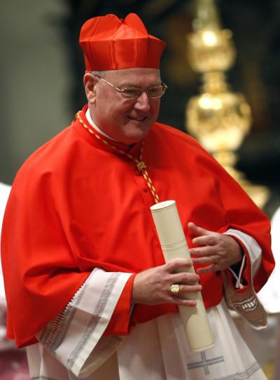 New Cardinal Timothy Dolan of the U.S. with red biretta,