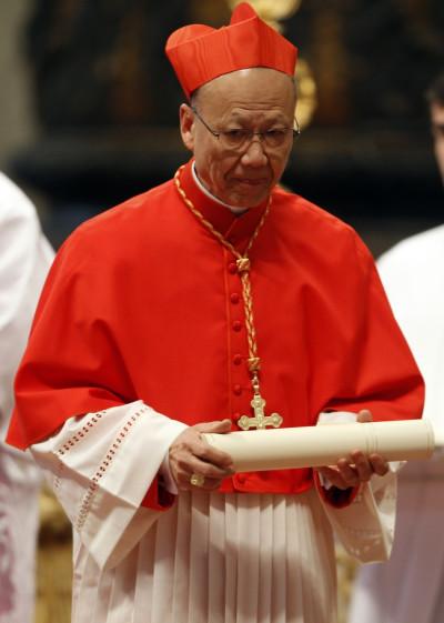 New Cardinal John Tong Hon of China with red biretta,
