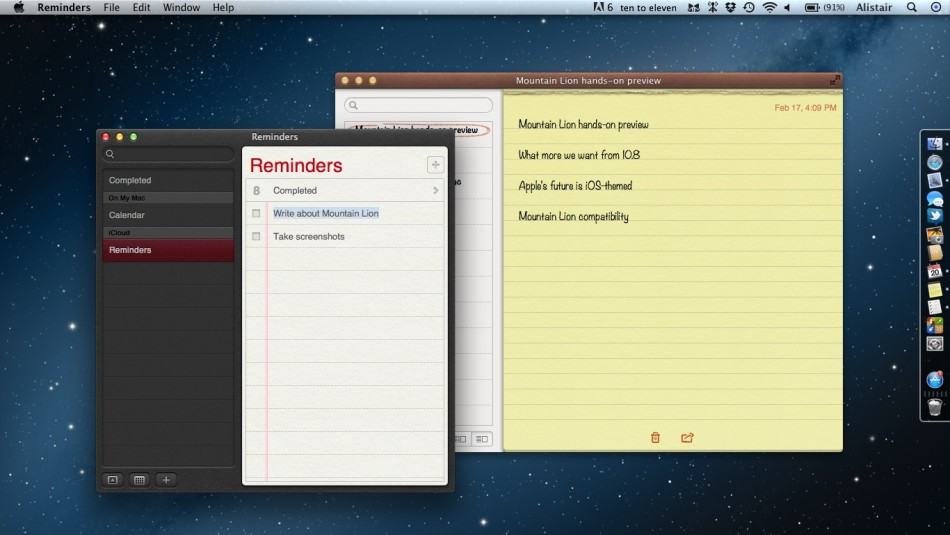 Mountain Lion features Reminders and Notes