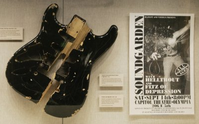 Fragments of a Fender Stratocaster electric guitar that was smashed to pieces by singer Kurt Cobain