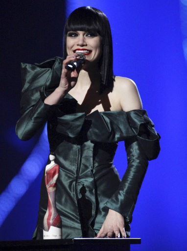 Critics039 Choice award winner Jessie J reacts as she speaks on stage at the Brit Awards 2011 at The O2 Arena in London