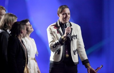Arcade Fire collect a Brit award on stage during the Brit Awards 2011 at The O2 Arena in London, Tuesday, Feb. 15, 2011.