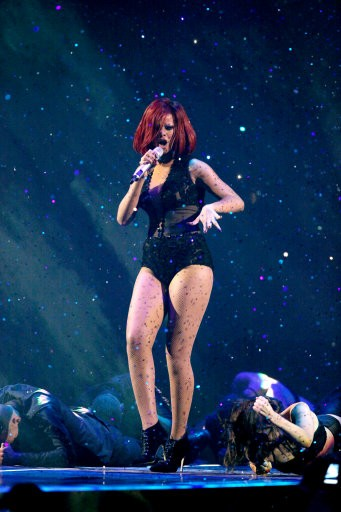 Rihanna performs on stage for the Brit Awards 2011 at The O2 Arena in London, Tuesday, Feb. 15, 2011