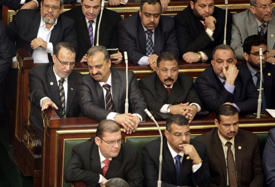 Essam el-Erian , on second row, vice chairman of the Freedom And Justice party  attends the first Egyptian parliament