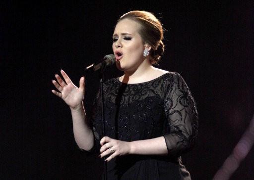Singer Adele who won six Grammys this year.
