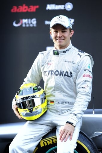 Nico Rosberg of Germany poses during the new F1 W03 official presentation of Mercedes GP Formula one team 2012 at the Montmelo racetrack near Barcelona, Spain, Tuesday, Feb. 21, 2012.